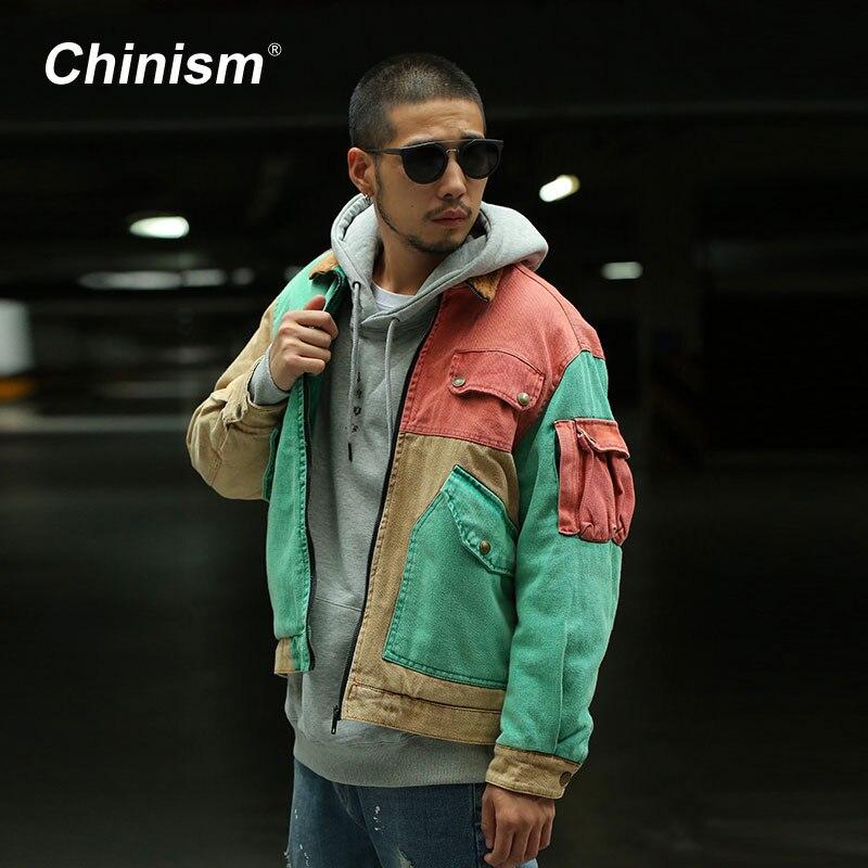 CHINISM Couleur Patchwork Collier De Laine Épais Manteaux Hommes Multi Poches Lâche Parkas Vestes Élégant Streetwear Mens Hiver Hip Hop