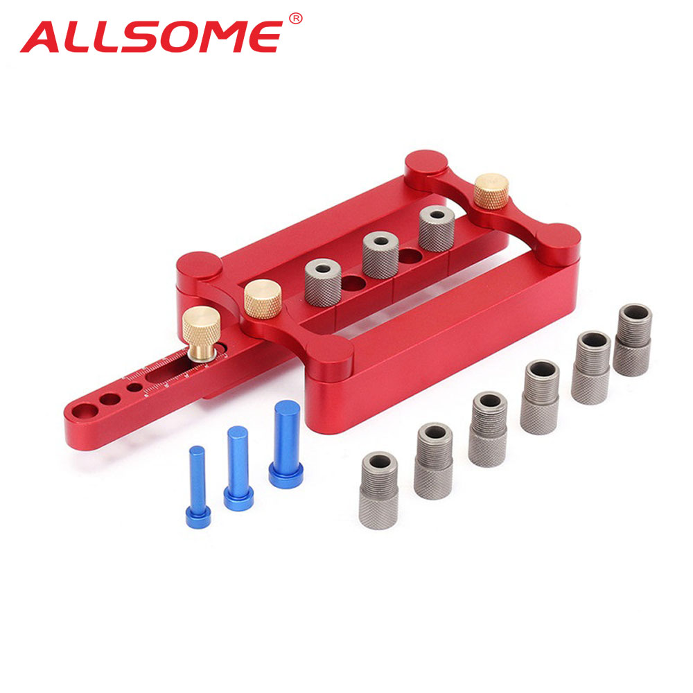ALLSOME Self Centering Dowelling Jig Metric Dowel 6 8 10mm Drilling Tools for Wood Working Woodworking