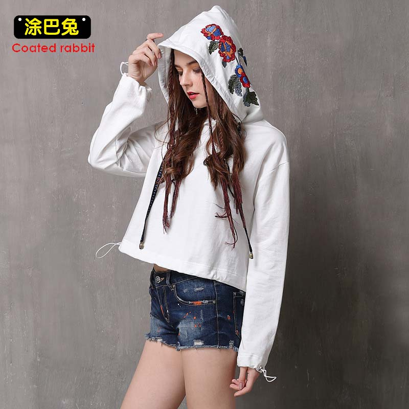 CR 2018 Spring Sweatshirts For Women Embroidery Hoodies Solid Long Sleeve Casual Harajuku Pullover Tops Womens Clothes
