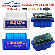 10 قطعة/الوحدة ELM327 1.5 بلوتوث OBD2 ELM 327 1.5 PIC18F25K80 OBD II ماسح ضوئي تشخيصي ELM327 V1.5 25K80 OBD 2 تشخيص محول