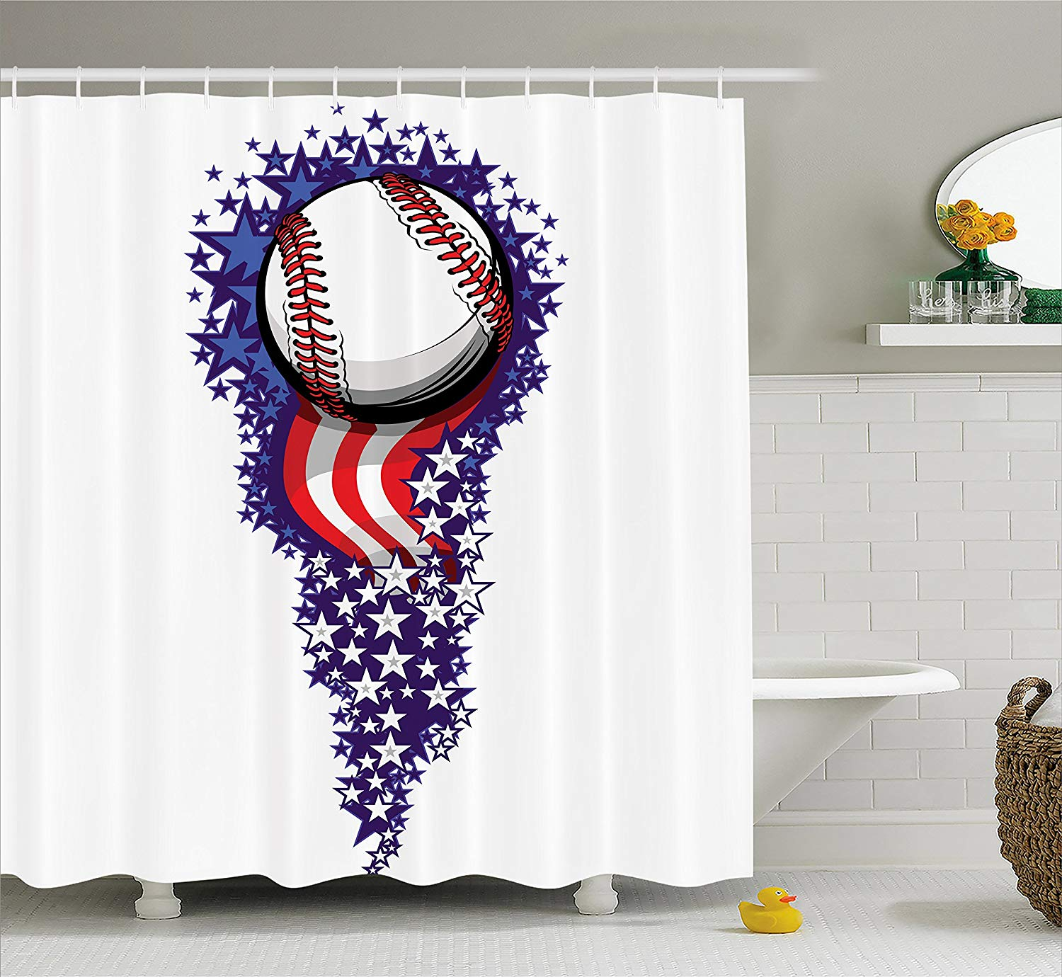 Sports Decor Shower Curtain Stars And Stripes Fireworks
