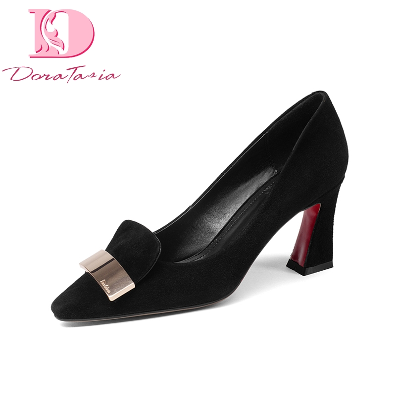 DoraTasia Brand New Genuine Leather Square High Heels Metal Decoration Solid Shoes Woman Fashion Spring Pumps keaiqianjin woman patent leather pumps plus size 33 43 high shoes spring autumn metal decoration black genuine leather pumps