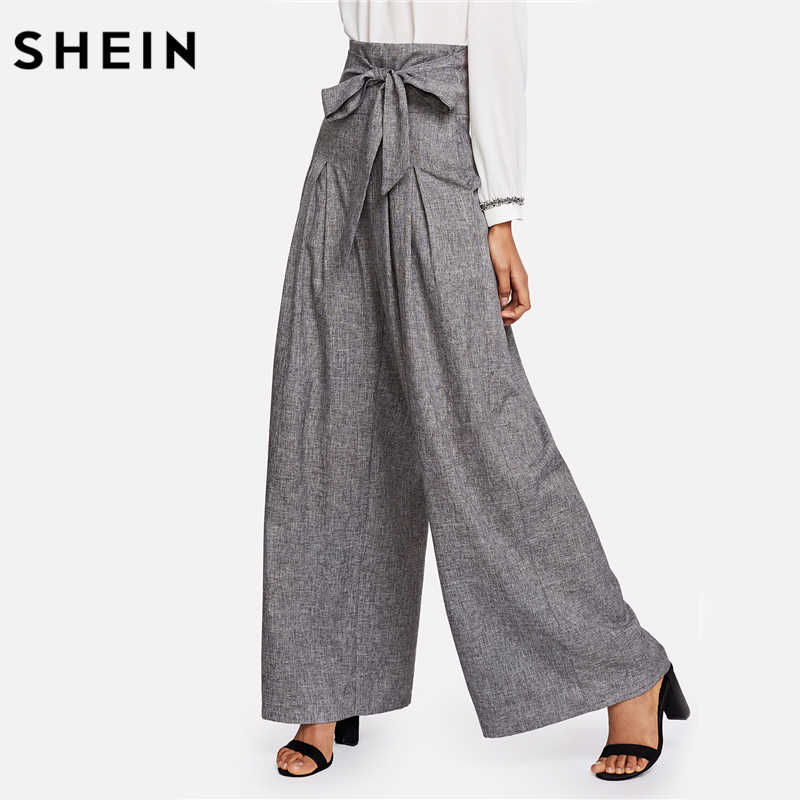 212ea0446b ... SHEIN Wide Leg Pants Women Zipper Fly Loose Trousers Women 2018 Grey  High Waist Self Belted ...