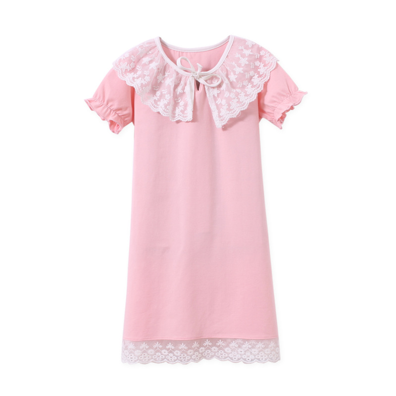 Nightgowns for Girls Cotton Princess Lace Bowknot Nightdress Short Sleeve Sleepwear 3-12 Years