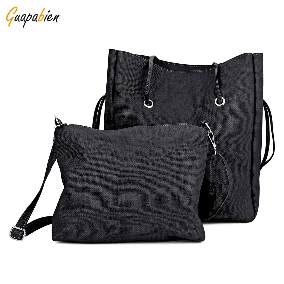 Promotion 2pcs 1 Set Casual Women Shoulder Bags Long Strap Handbag Solid Composite Bag Women Totes Cheap Soft Leather Bag Sets