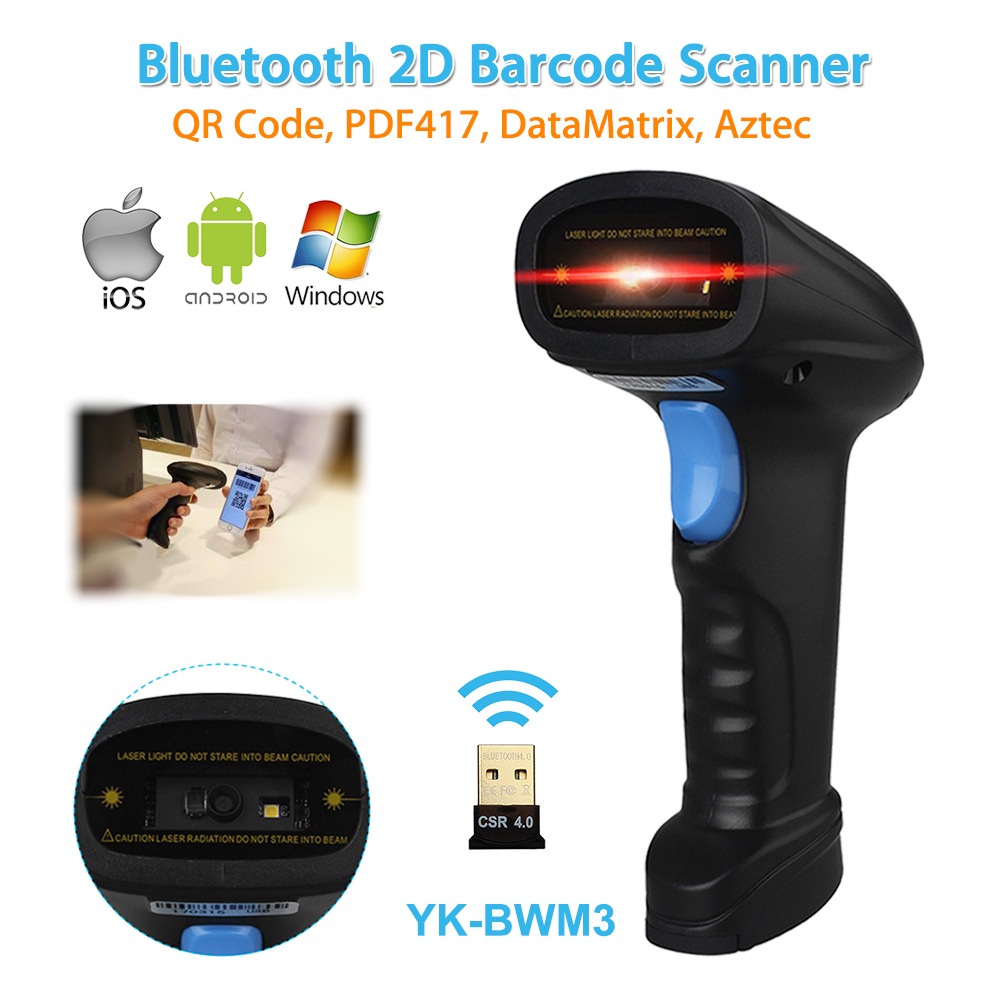 Blueskysea YK-BWM3 2D Bluetooth USB Wireless Handheld Laser Barcode Scan Bar Code Scanner Reader For Android/IOS/Windows