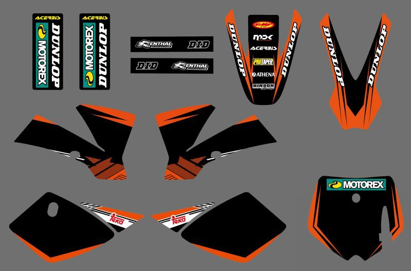 0538 (black&orange)NEW GRAPHICS <font><b>DECALS</b></font> STICKER For <font><b>KTM</b></font> SX 50 2002 2003 2004 2005 2006 2007 <font><b>2008</b></font> image