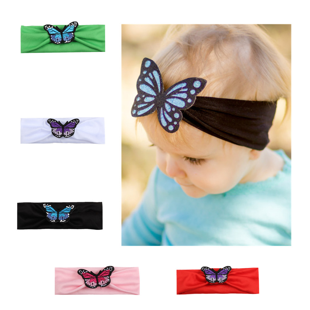 New 1 Pcs Girls Headband Newborn Beautiful Baby Hairband Cartoon Butterfly Headband Children 5 Color Hair Accessories 11 21 choose your own color infant headband baby headband newborn headband bow headband 1pcs lot