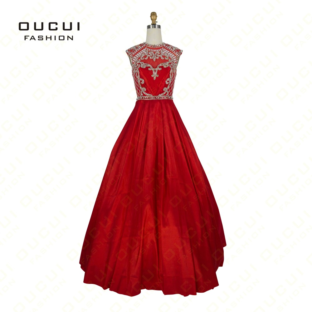 Taffeta Fabric New Arrival Formal vestido de noiva Red Color robe de soiree Crystal Long   Prom     Dresses   OL102515B