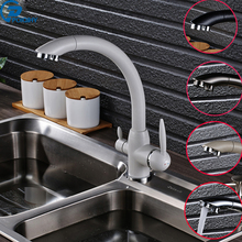 Poiqihy кухонный кран очищенной бортике кран двойной ручкой смеситель судно Стиль Кухня раковина кран