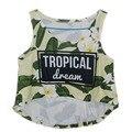 El más nuevo Tanque Chaleco Atractivo 3D Amarillo Estampado de Flores tropicales Divertidos Cortos Summer Cool Casual Tank Tops Blusas Chaleco Para La Muchacha Outwear