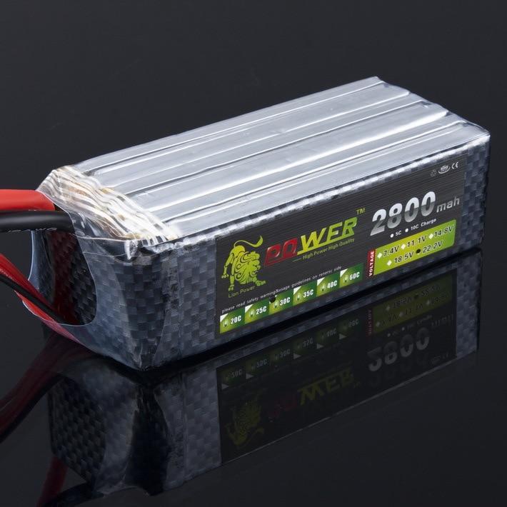 все цены на  Register shipping !1pcs Lion Power Lipo Battery 22.2V 2800Mah 30C MAX 45C T Plug for RC Car Airplane Align Helicopter  онлайн