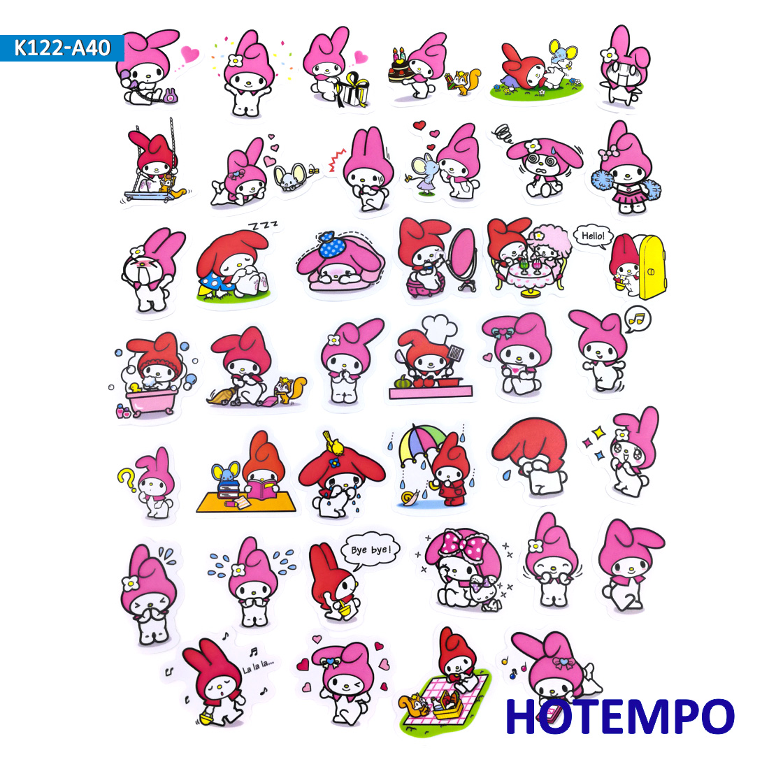 40pcs Sanrio Lovely Pink Girl Melody Cute Stickers For Kid DIY Children Letter Stationery Scrapbooking Diary Pegatinas Stickers