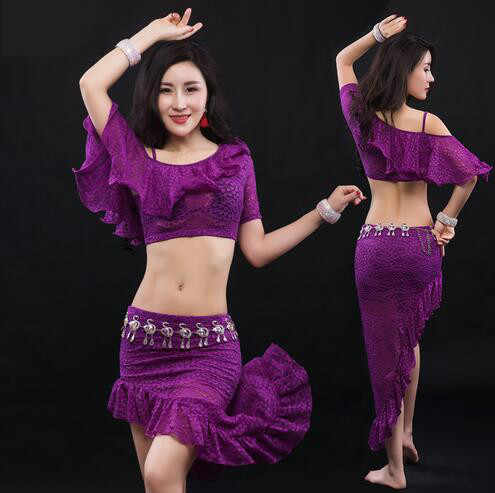c135680df Sexy Women Soft Lace Belly Dance Costume Oriental Dancing Training Clothing  Top+Skirt Suit for