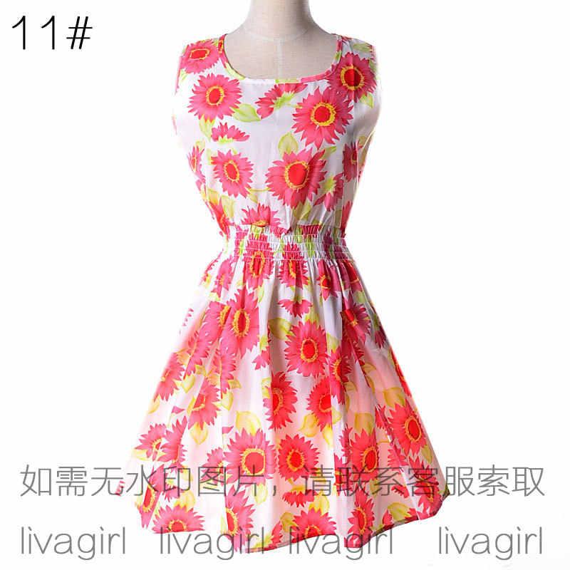 Dress women 2019 sexy mini models summer large size vest Printed Sleeveless floral chiffon dresses vestidos dropshipping LY1138