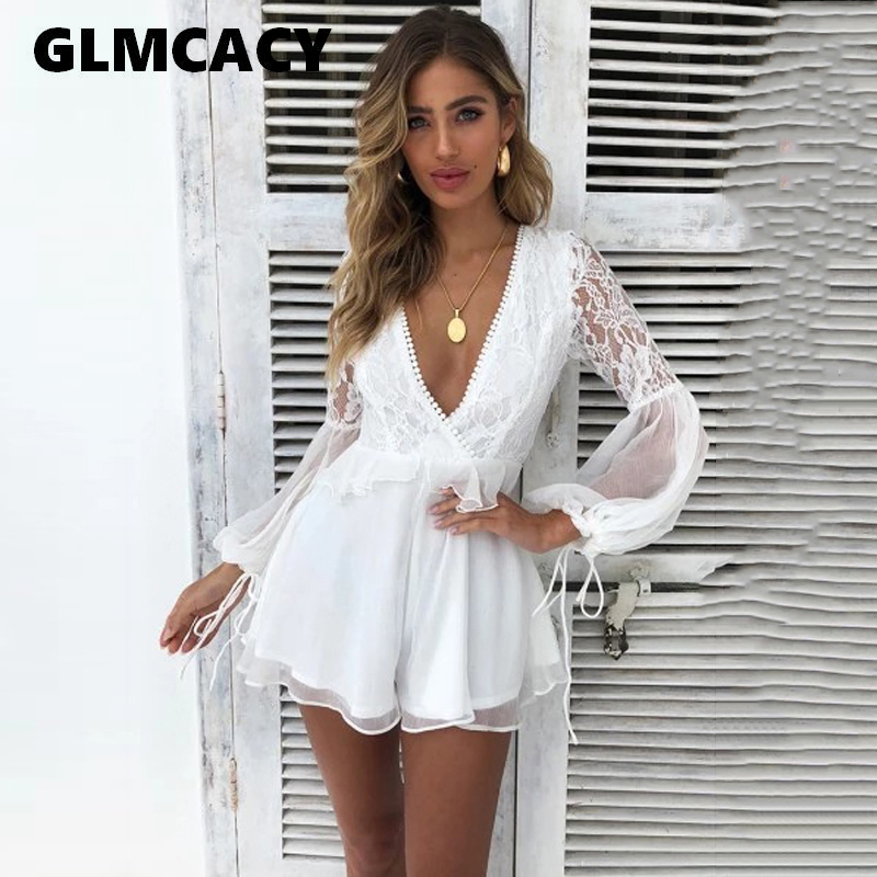 Women Boho Chic White Lace Open Back Rompers Playsuit Sexy Ladies Beach Holiday Party V neck   Jumpsuit   Summer Overall Playsuit