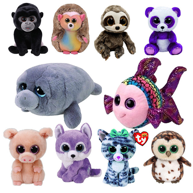 6 15cm Ty Beanie Boos Hedgehog Panda Rabbit Unicorn Dolphin Plush