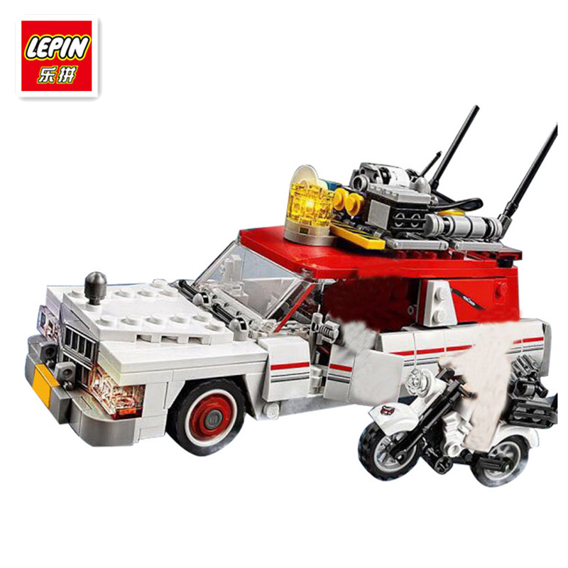 IN STOCK LEPIN 16032 586PCS Ecto-1&2 building bricks blocks Toys for children boys Game Model Car Gift Compatible 75828 pirate ship metal beard s sea cow model lepin 16002 2791pcs building blocks kids bricks toys for children boys gift compatible