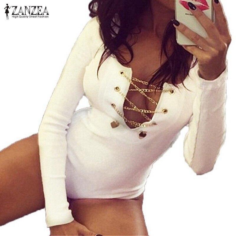 Plus Size 2016 ZANZEA Rompers Womens Slim Fit Playsuits Long Sleeve Tops Jumpsuit Sexy Bodysuit Short