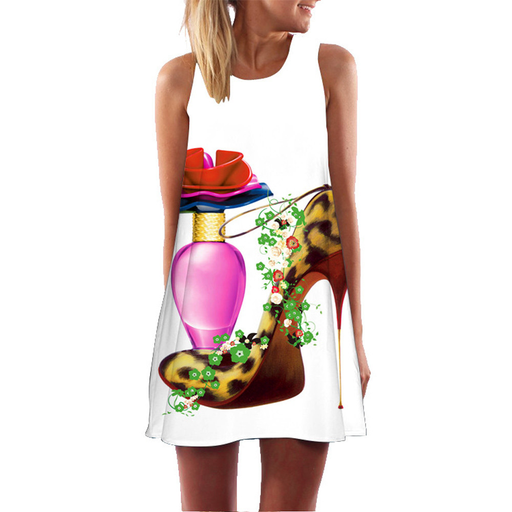 7379c3b7cbb Женское свободное летнее винтажное платье без рукавов с 3D цветочным принтом