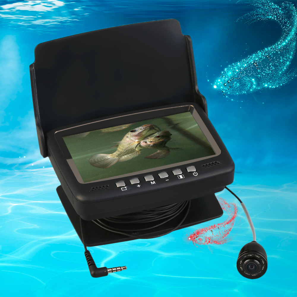 Portable Night Vision Visual Video Fish Finder Underwater Fishing Camera Fishcam 15M Cable With 4.3 Color Monitor HD 1000TVL подводная видеокамера sititek fishcam 501