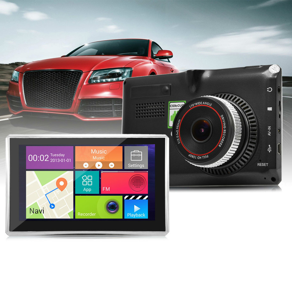 5'' Touch Screen 8GB Android Car DVR Camera GPS Navigation FM Transmitter GPS Navigator Car DVR Carmera Recorder Camcorder Cam hot 7 inch android 4 0 quad core car gps navigation with dvr recorder 1080p 8g media player fm transmitter support wifi igo map