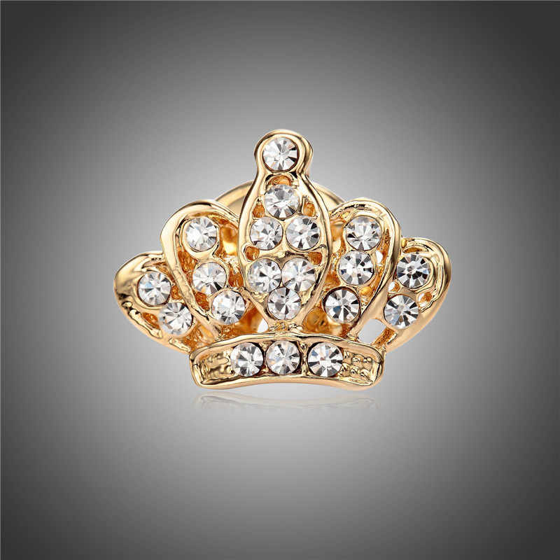 QCOOLJLY Trendy Jewelry Gold Color Crown Shape Unisex's Pin Brooch for Gift Christmas Women Men Clothes Sweater Accessories