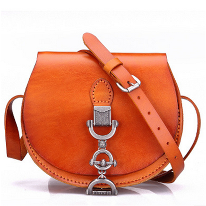 2017 New European and American Style Cow Leather Lock Fashion Semicircle Women Single Shoulder Bags 4 Color Messenger Bag velvet bagthe european and american fashion small package pure color lock one shoulder inclined shoulder women2018messenger bag
