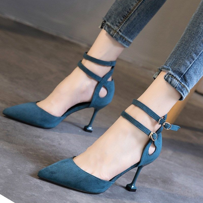 BODENSEE Women Shoes Buckle Strap Pointed Toe Women Pumps High Thin Heels Party Sexy Shoes Lady Wedding Shoes DX43