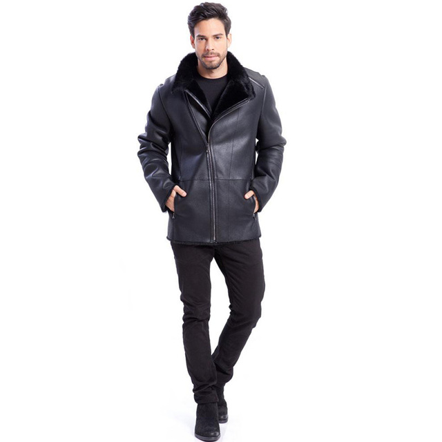 Mens New Style Leather Shearling Jacket Warm Exposed Shearling