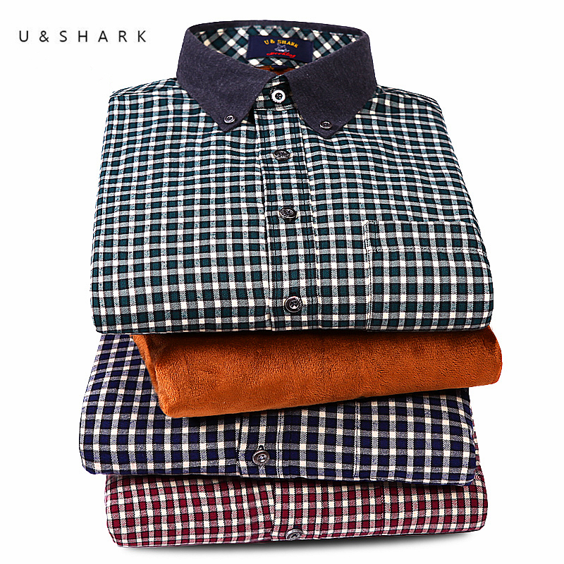 U Shark Mens Fleece Plaid Shirts Flannel Black Checkered