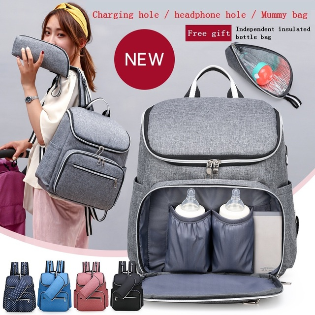 متعددة الوظائف موضة USB حقيبة المومياء خارج حقيبة ظهر للحفاضات المحمولة الجديدة حقيبة الأمومة حقائب رضع للأم حقيبة عربة أطفال