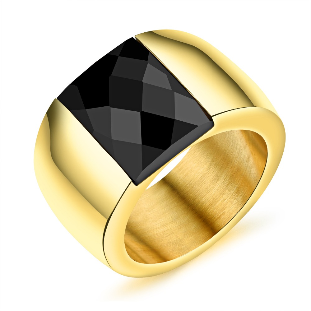 Europe and the United States exaggerate Mosaic black crystal ring Mens ring ring personality