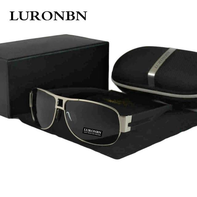Luronbn Marca Óculos De Sol Dos Homens Polarizados Uv400 Óculos Para A Condução de Dobradiça Dupla Óculos de Sol Óculos de Pesca Ao Ar Livre Oculos de sol Masculino