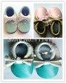 Frete grátis hot genuine mocassins de couro com arco metálico colorido bebê macio moccs sapatinhos criança meninas sapatos mocassim