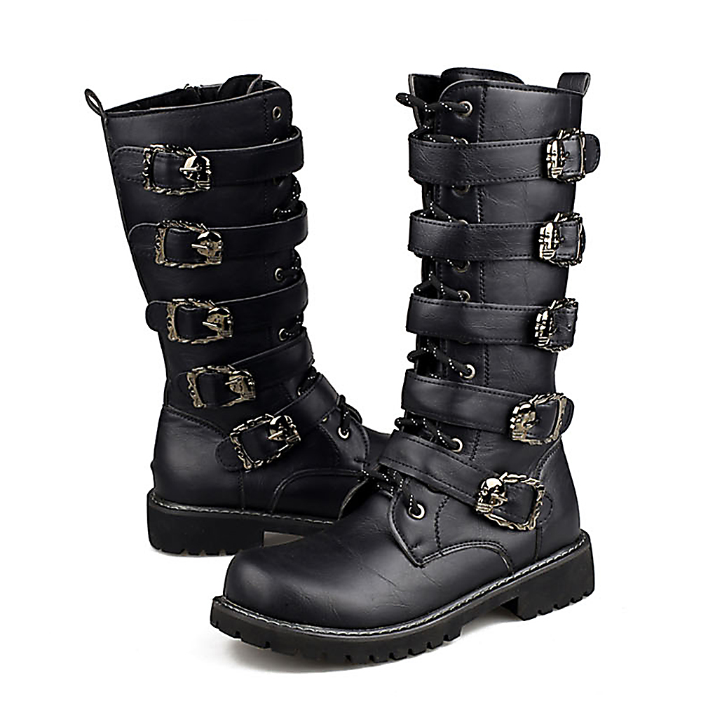 Motorcycle Boots Men Punk Martin PU Leather Boots Moto Steampunk Boots Belt Buckle Military Boots Mid-calf Shoes Protective Gear все цены