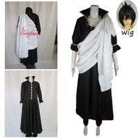 4PCS New Arrival Fairy Tail Zeref men Cosplay Costume Full Set and wig Long coat pants and white cloth Halloween Cosplay women