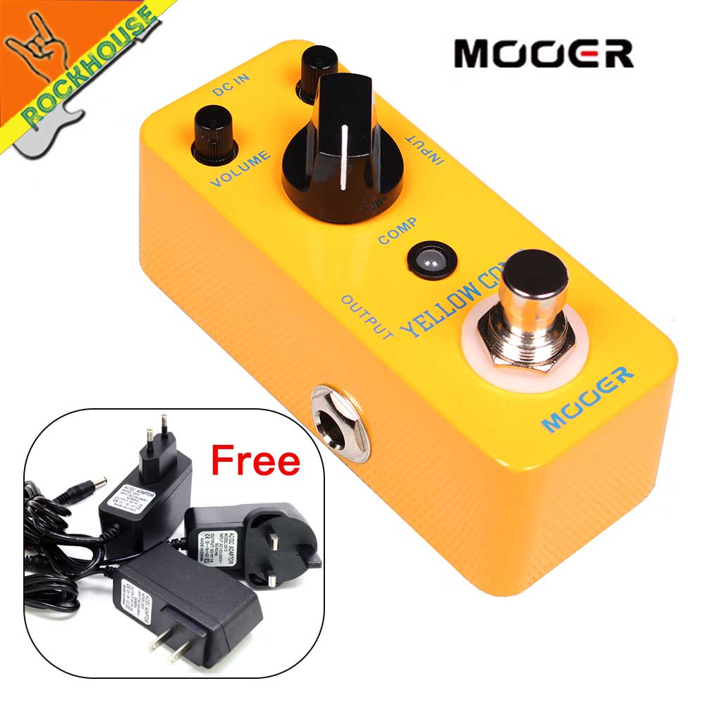MOOER Yellow Comp Guitar Compressor Pedal Mini Compressor Guitarra Effects Pedal Full Metal Shell True Bypass Free Shipping feee shipping new effect pedal mooer flex boost pedal full metal shell true bypass