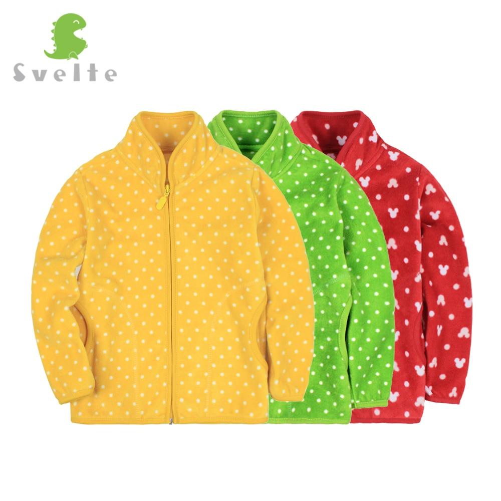 Svelt 2017 Spring Fall Winter for Children Kids Girls Polka Dot Soft Fleece Jacket Coat Outerwear