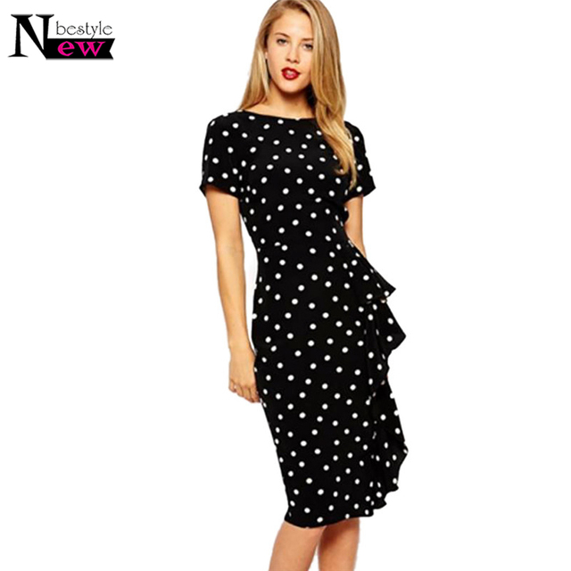 5c0e94ca88cf3 Newbestyle Polka Dot Dress Women Summer Casual Bodycon Dress Sexy Ruffle  Elegant Midi Dress Club Party Dresses Vestidos De Festa-in Dresses from ...