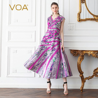 VOA Heavy Silk Party Dress Women Maxi Long Swing Dresses Slim Rose Red Print V Neck