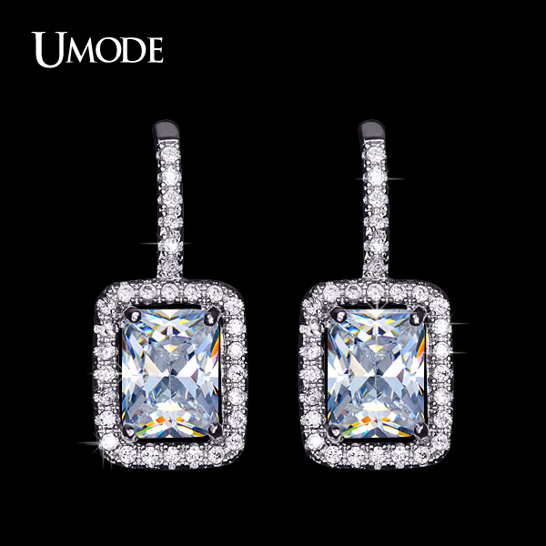 41c5029fc UMODE Classic 1.5 Carat Rectangle Zirconia simulated CZ Stone with Tiny CZ  Surround Hook Earrings for Women UE0135