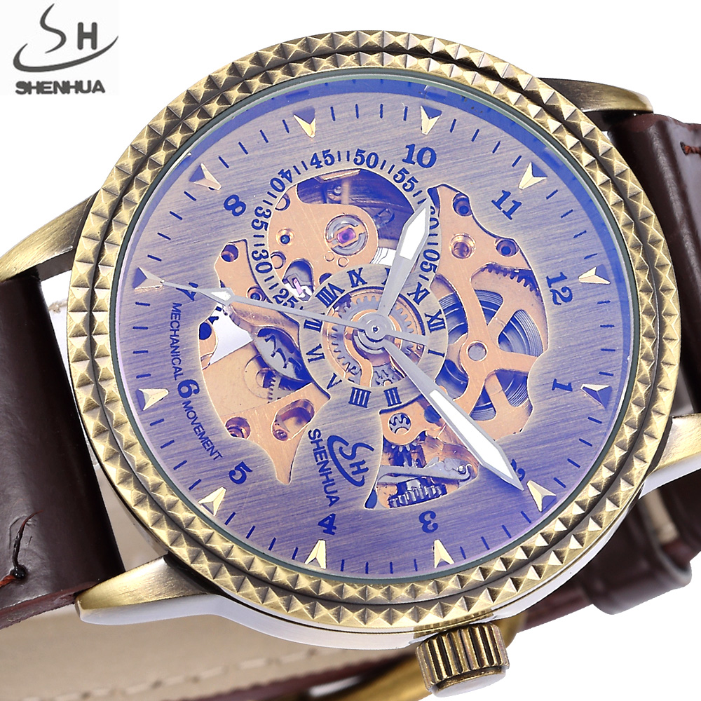 SHENHUA Bronze Skeleton Mechanical Watch Men Automatic Watches Sport Retro Luxury Top Brand Leather Watch Relogio Masculino shenhua automatic mechanical tourbillon watches men top brand luxury leather band transparent skeleton watch relogio masculino
