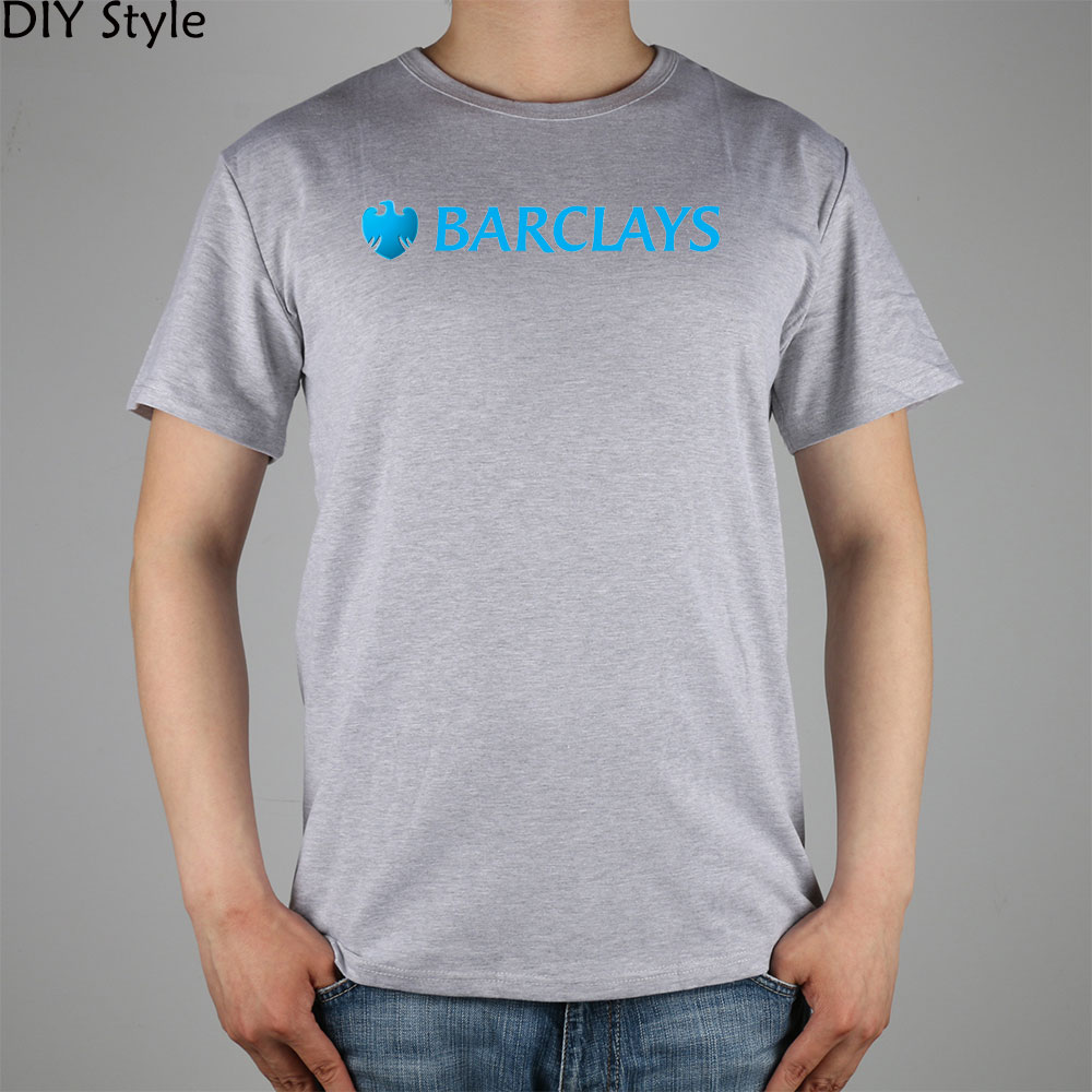 Barclays logo finance bank t shirt top lycra cotton men t for Quality shirts for printing