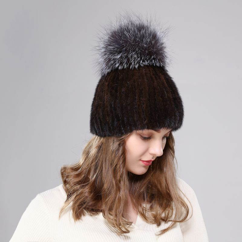 New arrival lady natural mink fur knitted hat super large silver fox pompom fashion warm ear protection elastic yarn lining