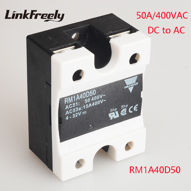цена на RM1A40D50 5pcs 50A DC AC Solid State Relay Output:42-440VAC Input:5V 12V 24V DC SSR Relay PLC Soft Starting Relay Switch Board