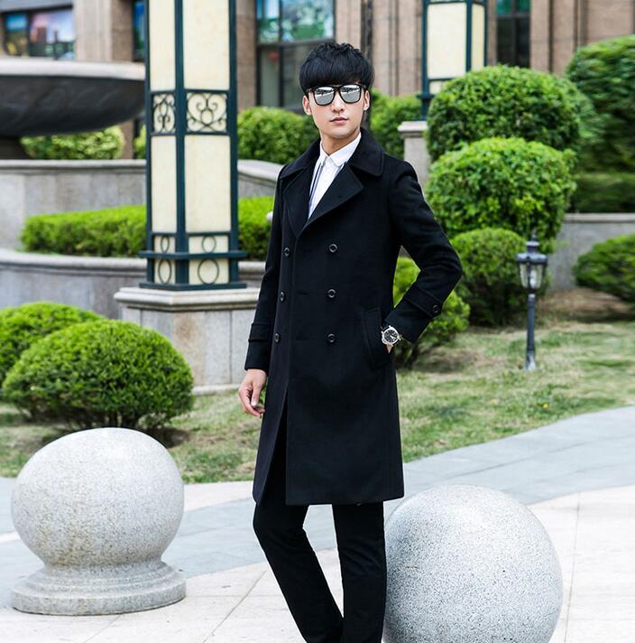men's clothing plus size S - 9XL long design slim casual wool coat men double-breasted woolen coats mens outerwear black khaki
