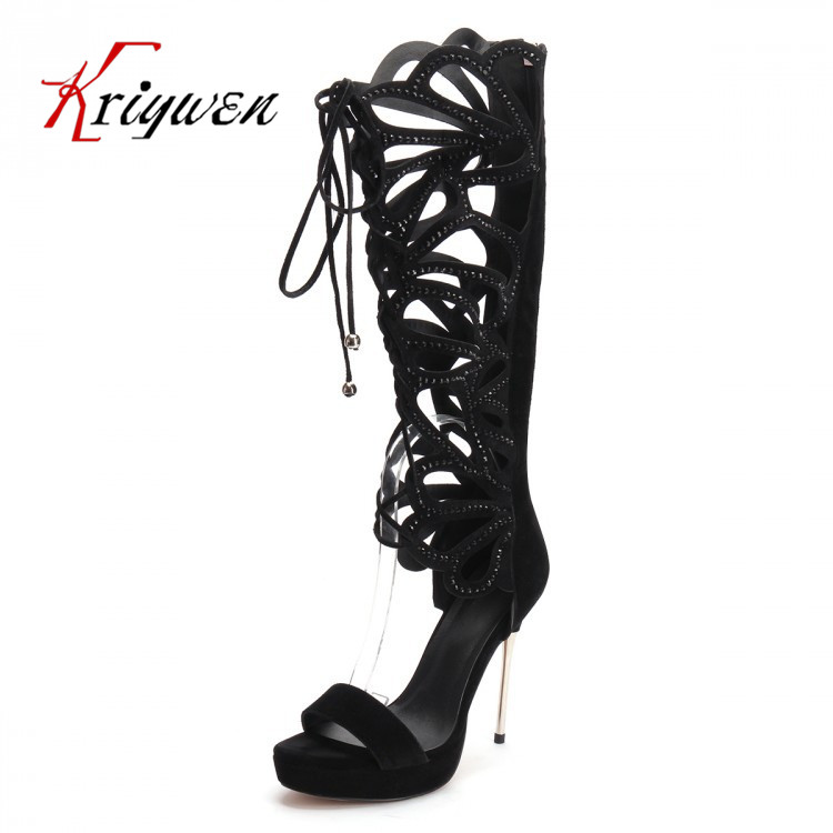 ФОТО Plus size 35-42 Fashion Design Gladiator style 13cm heels over keen boots Summer Knee-High Boots High Heels Sandals platforms