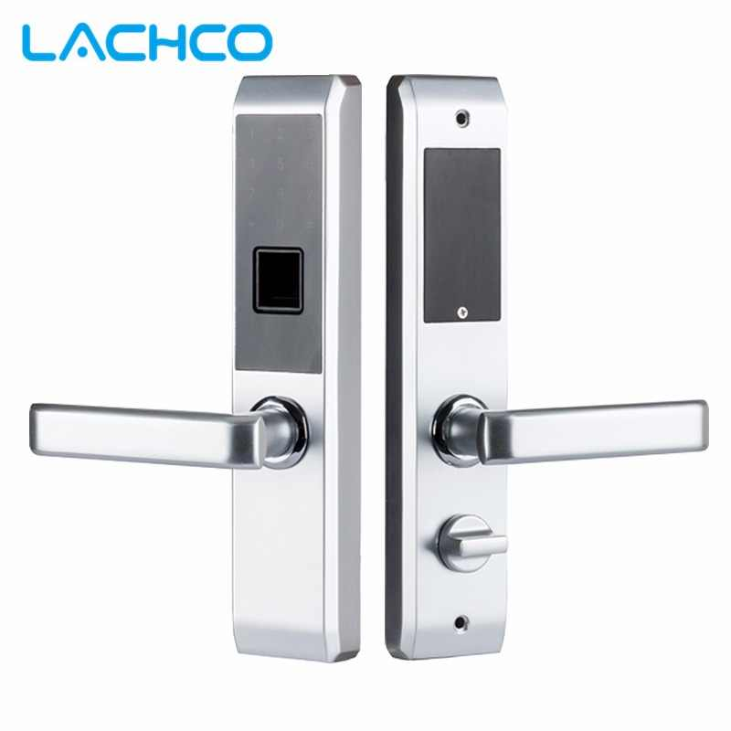 LACHCO  Biometric Electronic Door Lock Smart Fingerprint, Code,Card, Key Touch Screen Digital Password Lock for home L18008F