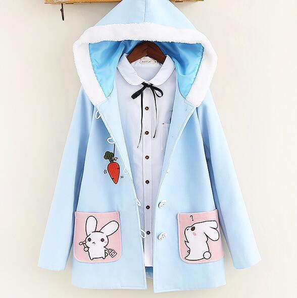 Симпатичный кролик вышивка карман Шерсть С Капюшоном зимние Куртки пальто мори девушка